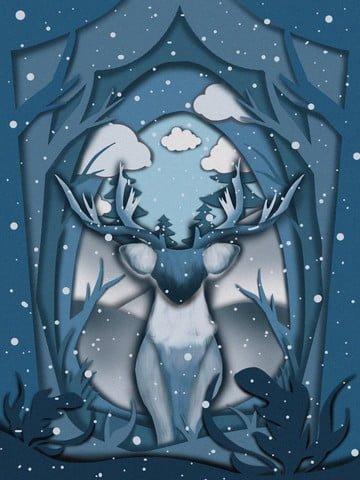 子鹿の紙はクリスマスの森で治療イラストレーターをカット イラスト素材 イラスト画像