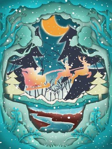 noite de natal na floresta cura corte papel ilustração vento Material de ilustração