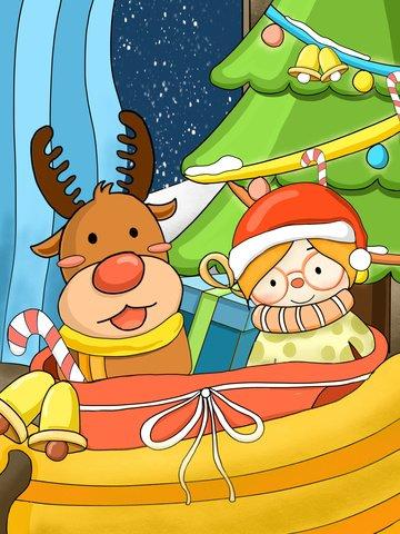 엘크와 크리스마스 선물 소녀 삽화 소재 삽화 이미지