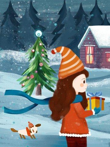 テクスチャイラストクリスマスのギフトを家に持つ イラスト素材