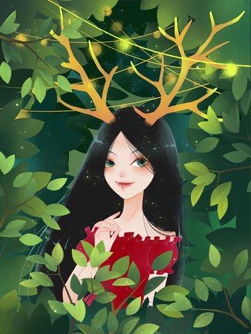 Christmas Green leaf Green forest antlers, Girl, Light, Leaves illustration image