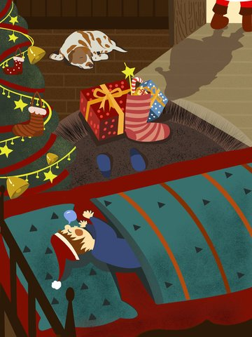暖色復古扁平風聖誕節壁紙畫冊插畫psd 插畫素材