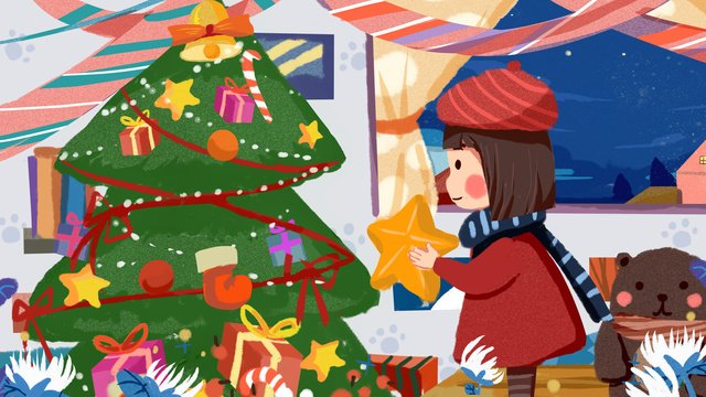 christmas little girl decorating tree at home cute illustration llustration image illustration image