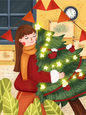 Christmas happy cute cartoon girl holding tree, Christmas, Lovely, Cartoon illustration image
