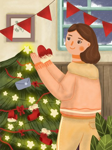 Christmas merry girl dressing up tree, Christmas, Lovely, Cartoon illustration image