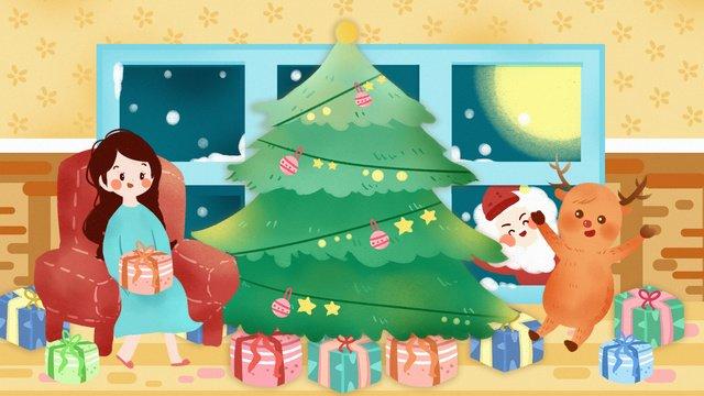 크리스마스 노인 엘크 선물 밤 12 월 겨울 이브 삽화 소재