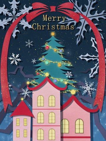 クリスマス紙カット風イラストクリスマスツリーと星の下の赤い家 イラスト素材 イラスト画像