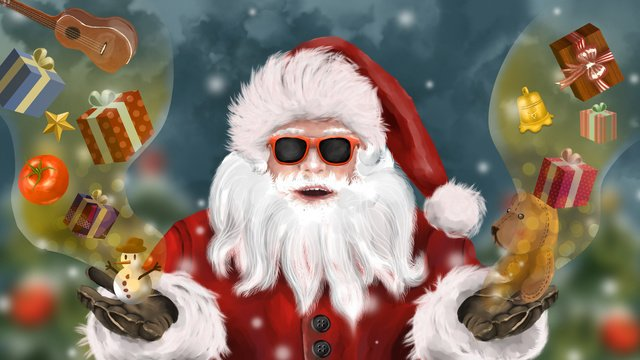 christmas realistic santa claus tree bells gift winter snow festival llustration image illustration image