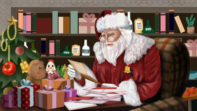 عيد الميلاد واقعية سانتا كلوز أجراس شجرة هدية الشتاء مهرجان الثلج مواد الصور المدرجة