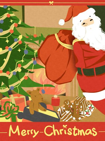 Christmas santa claus put gift paper cut style original hand drawn illustration, Christmas, Santa Claus, Christmas Tree illustration image