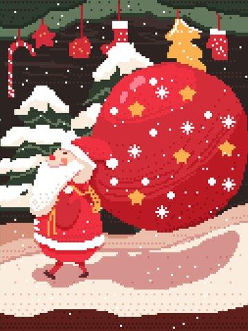 크리스마스 산타 클로스 복고풍 픽셀 바람 그림 벽지 배경 삽화 소재