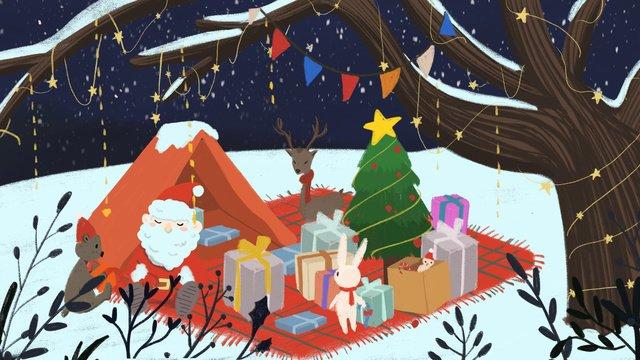 عيد الميلاد سانتا كلوز يعطي هدايا لحيوانات الغابة مواد الصور المدرجة الصور المدرجة