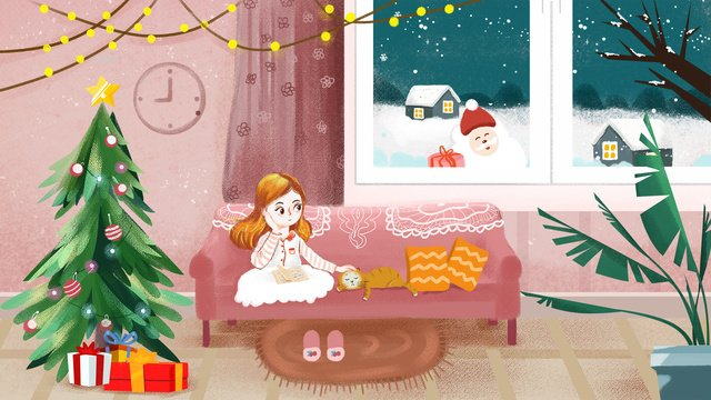 christmas quiet girl texture illustration at home reading a book llustration image