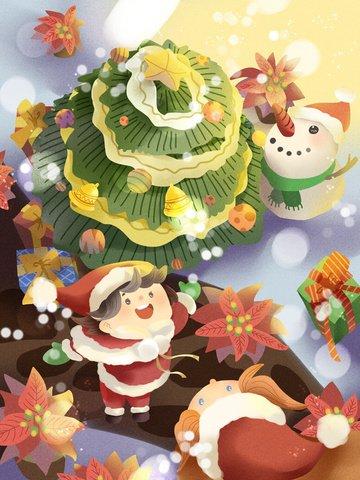 크리스마스 화이트 snowing 소녀 눈사람 행복 삽화 이미지