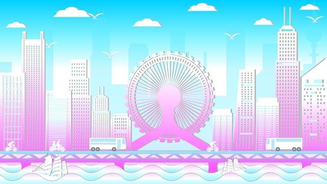 city silhouette landmark building of tianjin eye original illustration llustration image illustration image