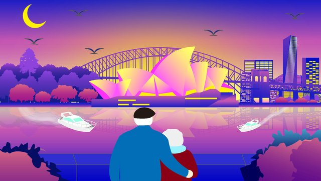city silhouette landmark building of the sydney opera house original illustration llustration image illustration image