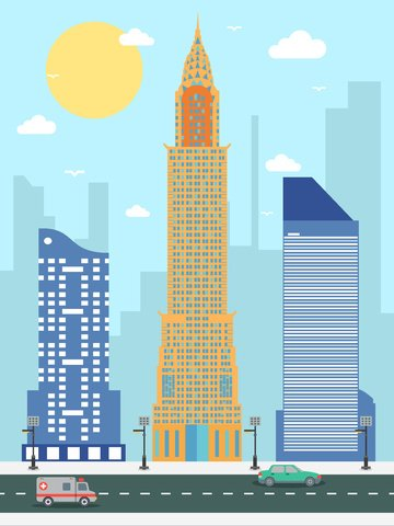 ニューヨークエンパイアステートビルディングの街のシルエットベクトルイラスト イラスト素材 イラスト画像