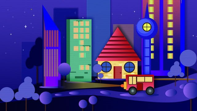 city silhouette paper cut wind colored night warm illustration llustration image illustration image