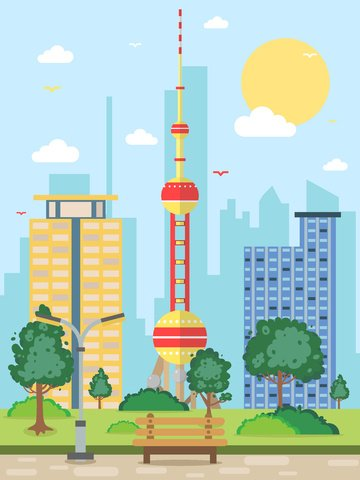 vector illustration of oriental pearl tower city silhouette llustration image