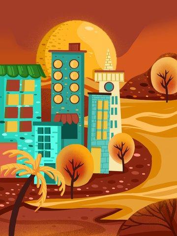 都市シルエット日没西の美しい町の風景イラスト イラストレーション画像