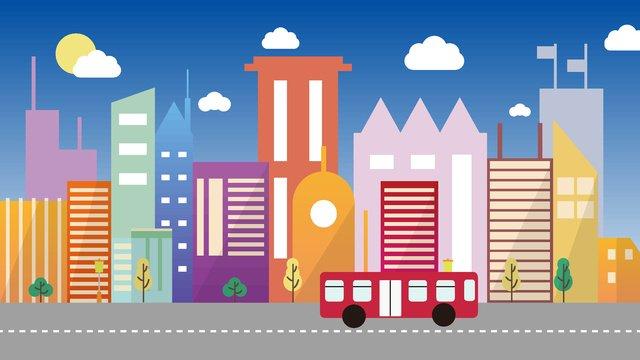 清晨活力城市剪影 插畫素材 插畫圖片