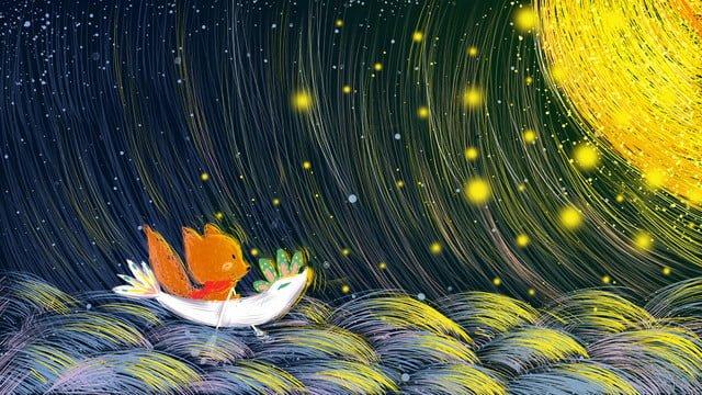 コイルかわいいペット小さなキツネが月のオリジナル手描きイラストを探して イラスト素材 イラスト画像