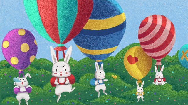 Coil cures cute rabbits and balloons, Coil, Healing, Meng illustration image