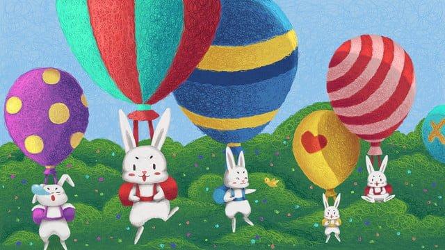 coil cura coelhos e balões fofos Material de ilustração Imagens de ilustração