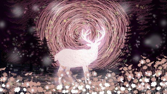 コイルイラストピンクの鹿 イラスト素材
