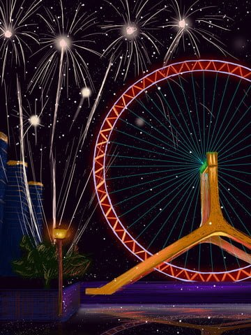 Coil night view grande roue feux dartifice romance image d'illustration