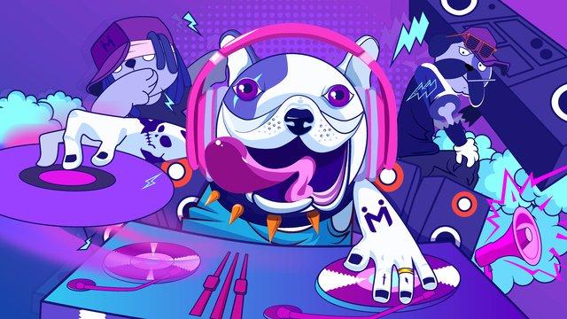 màu sắc vui nhộn hip hop chó âm nhạc dj phim hoạt hình minh họa hình ảnh sẽ