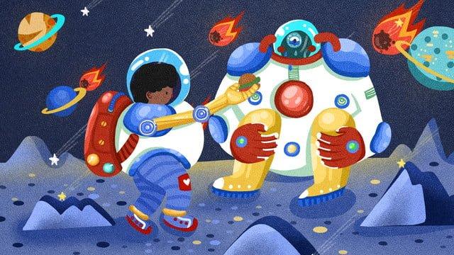 cosmic adventure robot and astronauts encounter story illustrator llustration image illustration image