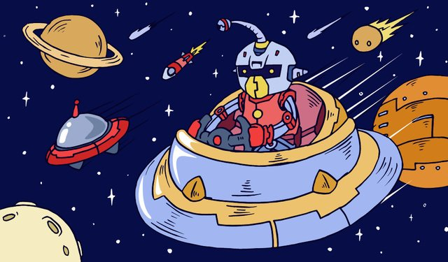 cosmic adventure robot planet ufo meteor rocket moon llustration image illustration image