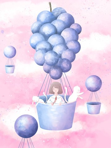 Creative fruit illustration girl and cat on grape hot air balloon, Creative Fruit, Fruit, Grape illustration image