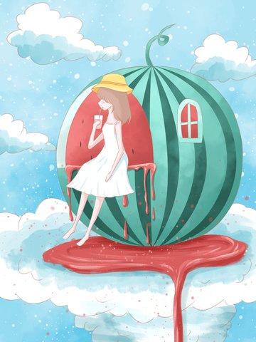 creative fruit illustration sitting on watermelon girl drinking juice illustration image