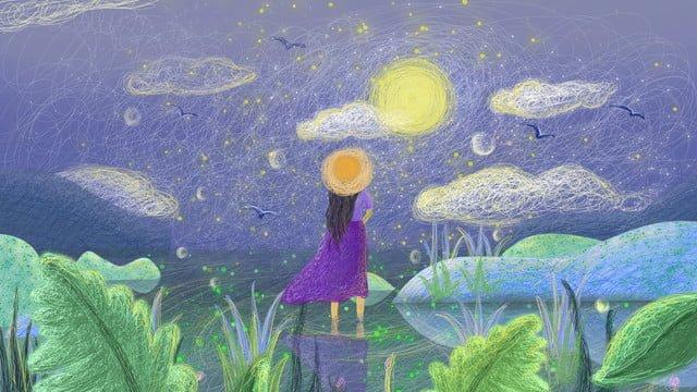 治愈系線圈星空海上風景 插畫素材 插畫圖片
