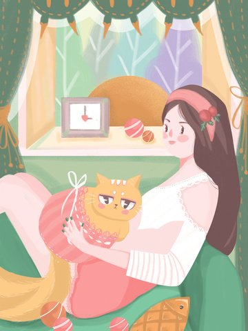Meng pet accompanying warm scene girl cat sofa window fresh illustration llustration image