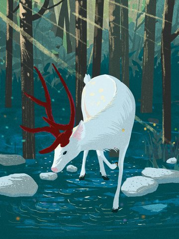 Lin shen see the deer illustration white that is drinking water., Deep Forest, Forest, Creek illustration image