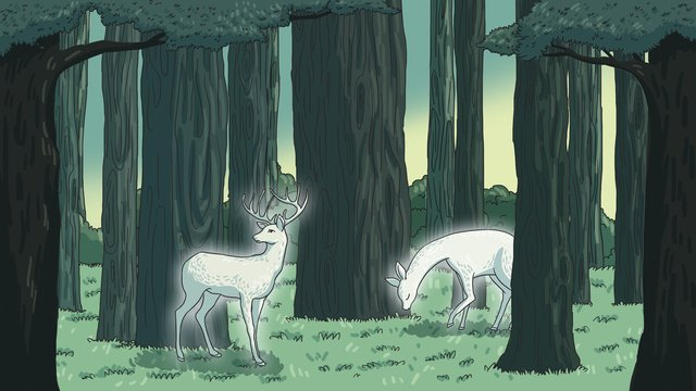 Healing illustration white deer in the forest, Deer, Forest, Plant illustration image