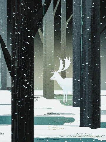 deer forest Trees Branch, Winter, Snow, Snowing illustration image