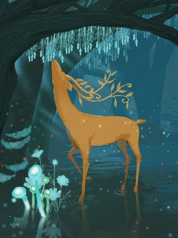 Lin shen sees the deer healing system illustration, Deer, Giraffe, Elf illustration image