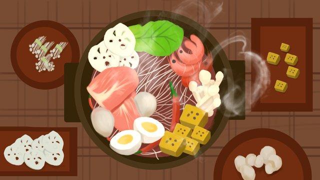 Ешьте горячий горшок реалистичные оригинальные иллюстрации Ресурсы иллюстрации