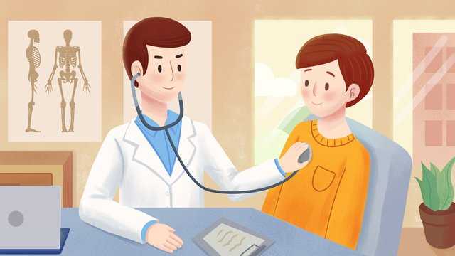yellow simple flat wind medical scene with picture psd llustration image