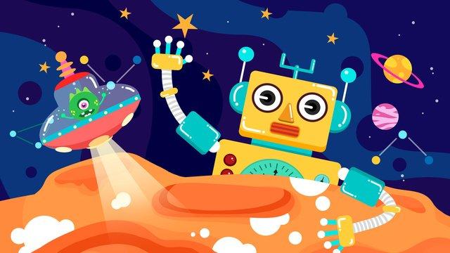 落書き風ロボットエイリアンスペース探査図 イラスト素材
