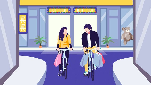 Double eleven small fresh couple buy, Double Eleven, Buy Buy Buy, Shopping Festival illustration image