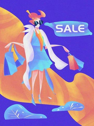 두 번 11 쇼핑 카니발 그라디언트 소음 일러스트 여자 삽화 소재
