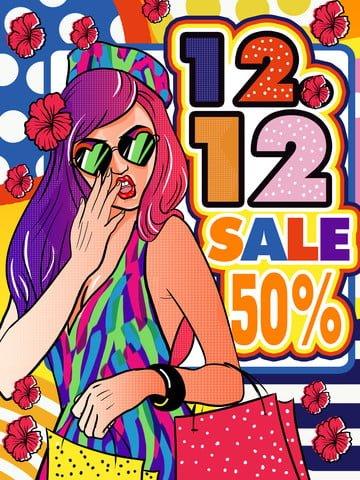 Double Twelve double eleven shopping 50  off, Return, Year-end Promotion, Pop illustration image