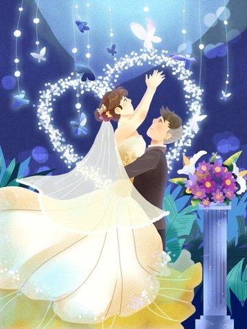 夢のような結婚式のロマンチックなバブルブルーバタフライハッピーライフ イラスト素材