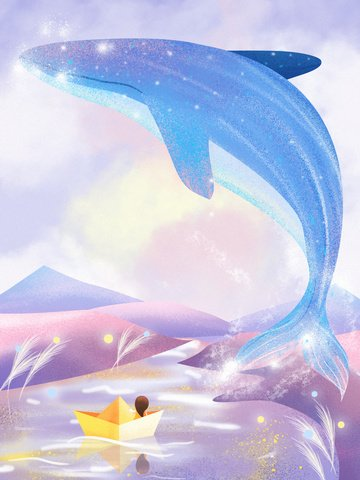 See the whale original healing system illustration when sea is blue, Dream Whale, Ferry, Healing illustration image