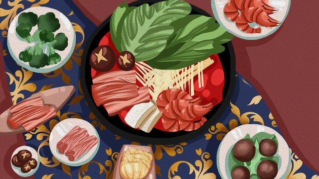 Еда горячего горшка старинные великолепные текстуры еды бизнес иллюстрация Ресурсы иллюстрации